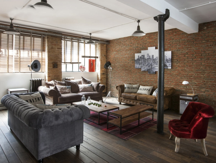 La deco loft new yorkais en 65 images for Decoration americaine pour salon