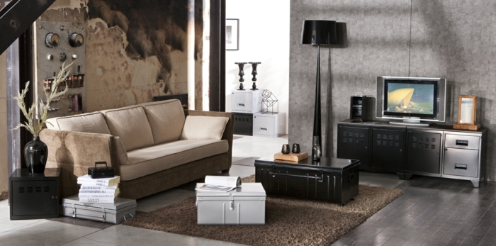tapis salon style industriel. Black Bedroom Furniture Sets. Home Design Ideas