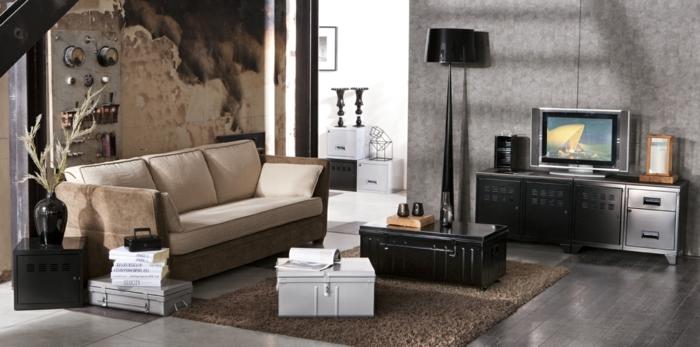 des-meubles-style-industriel-idée-créative-canapé-beige-tapis-valise-table-basse