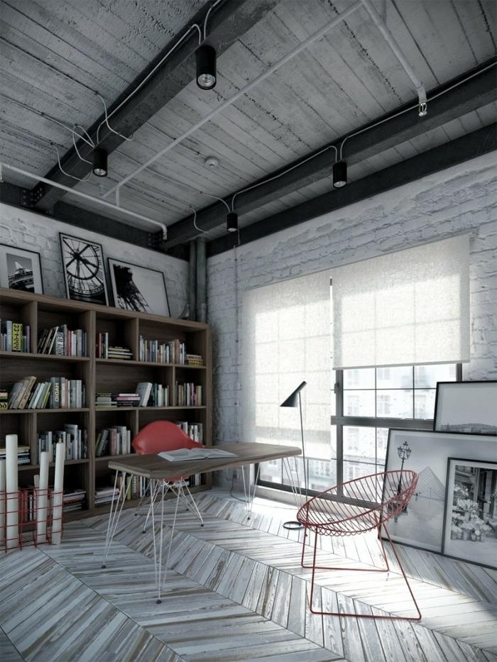 des-meubles-style-industriel-idée-créative-gris-moderne-bibliothèque-chaise-bureau
