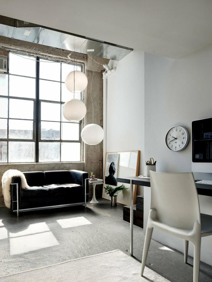 des-meubles-style-industriel-idée-créative-salle-de-séjour-canapé-en-cuir
