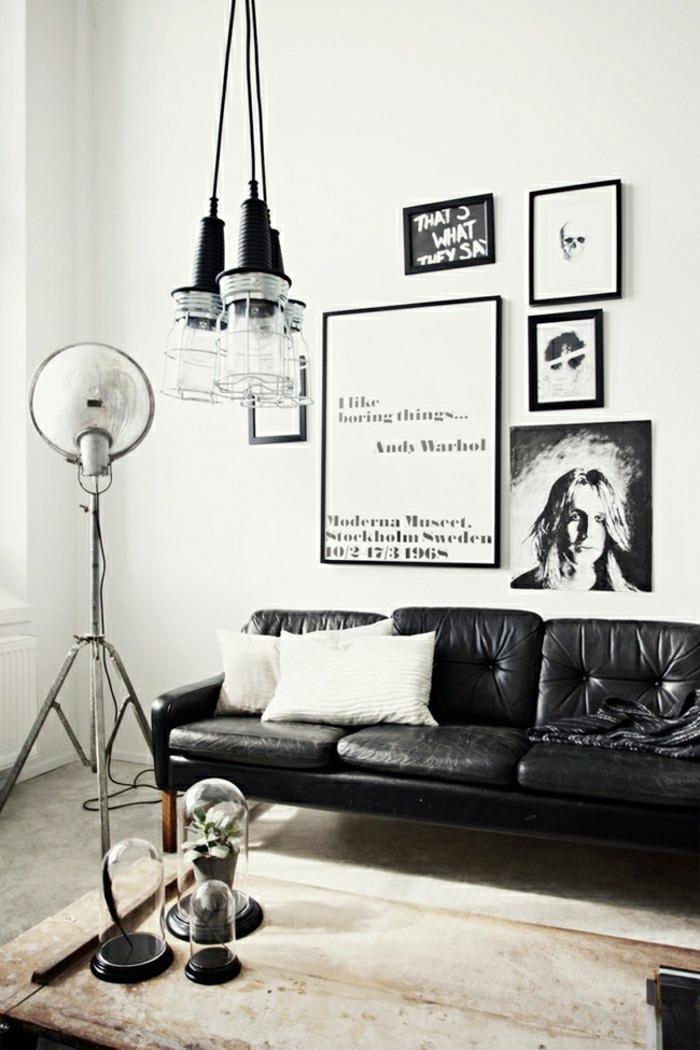 des-meubles-style-industriel-idée-créative-salon-canapé-en-cuir-noir