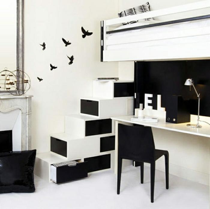 etagere-escalier-ikea-escalier-rangement-dressing-sous-escalier-chambre-à-coucher-noir-et-blanc