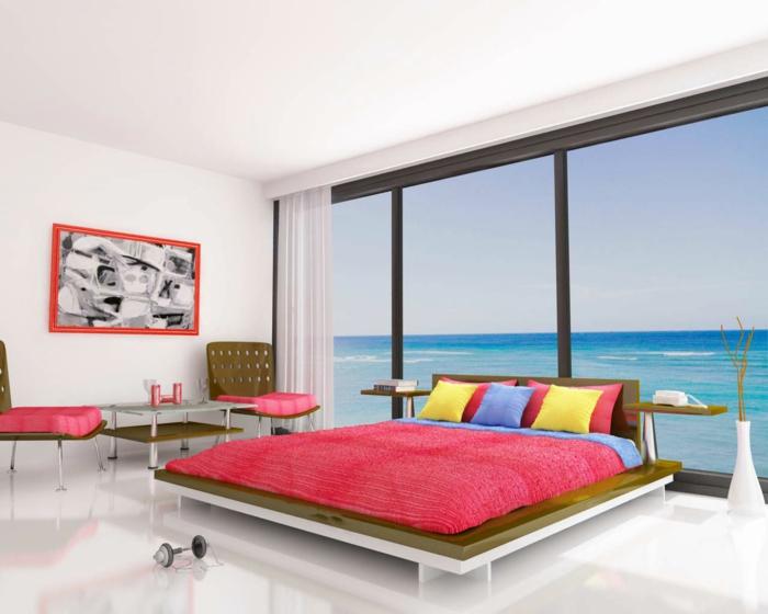 feng-shui-chambre-à-coucher-sol-en-lin-blanc-peinture-murale-couverture-de-lit-rouge