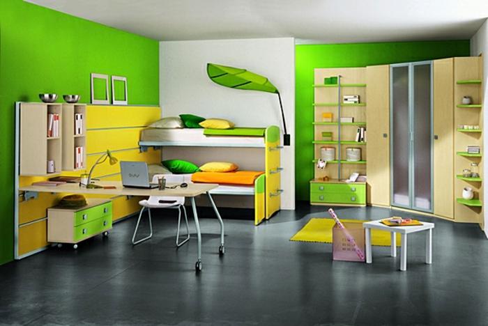feng-shui-chambre-d-enfant-mur-vert-sol-en-lin-gris-meubles-pour-la-chambre-d-enfant