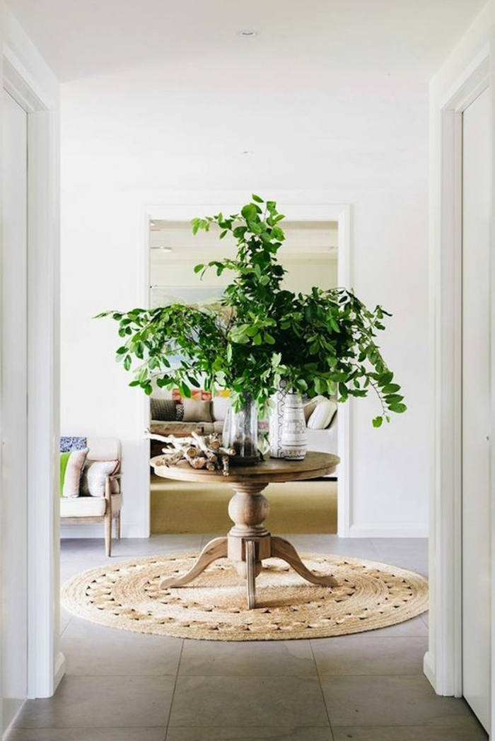feng-shui-couleurs-feng-shui-maison-entrée-en-carrelage-beige-tapis-dans-le-couloir