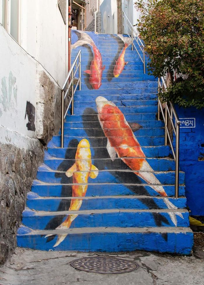 graffiti-paris-chef-d-oeuvre-art-de-la-rue-poissons-sur-escaliers