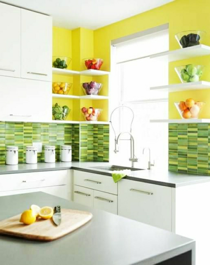 cuisine blanche mur jaune » Photos de design d'intérieur et ...