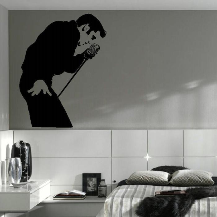 idée-déco-chambre-à-coucher-ou-salon-noir-et-blanc-elvis-presley