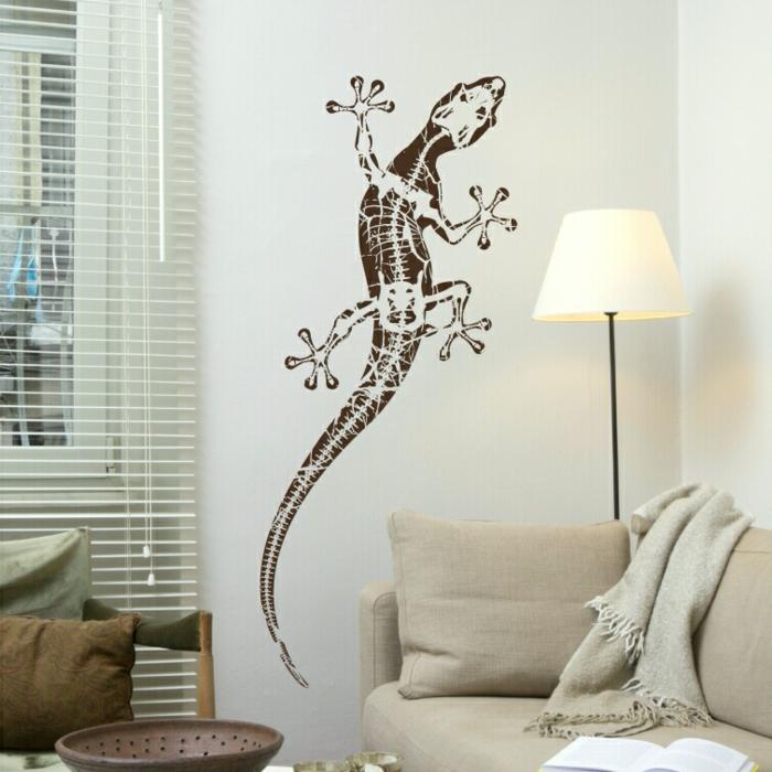 idée-déco-chambre-à-coucher-ou-salon-squelleton-pochoir-mural