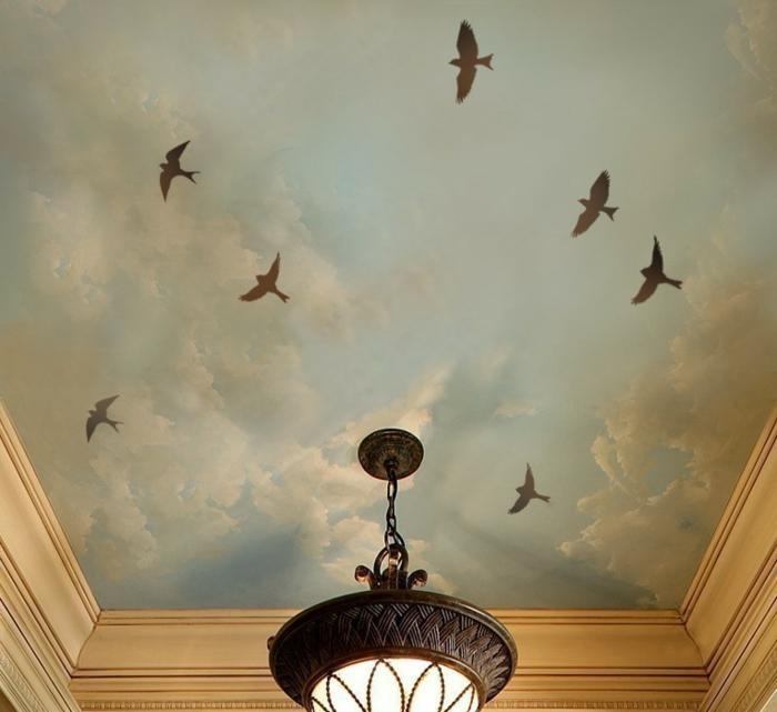 idée-déco-chambre-à-coucher-ou-salon-toir-oiseaux-pochoir-mural