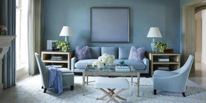 ide dcoration amnager son salon bleu violet fleurs - Decoration Salon Bleu