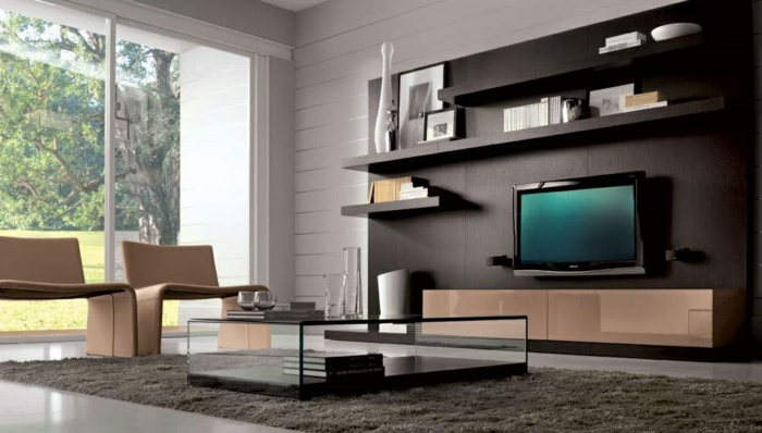 idée-décoration-salon-aménager-son-salon-télé-chaises-bois