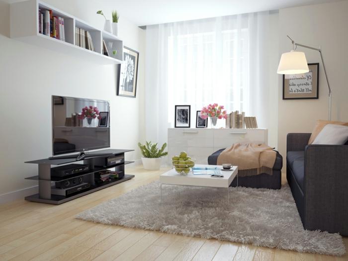 idee-salon-aménager-son-salon-tapis-canapé-noir