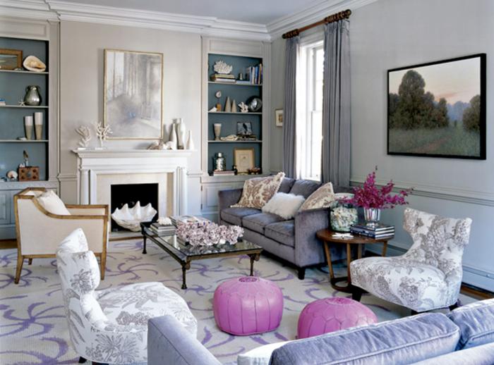 idee-salon-aménager-son-salon-violet-et-rose-blanc-fauteuilles-chique