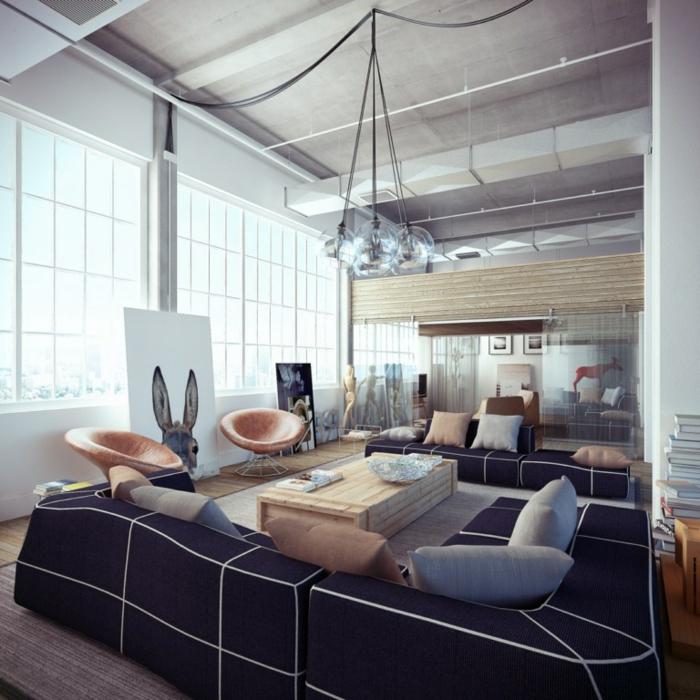 industriel-loft-avec-blanc-et-navy-blue-canapé-peinture-salon