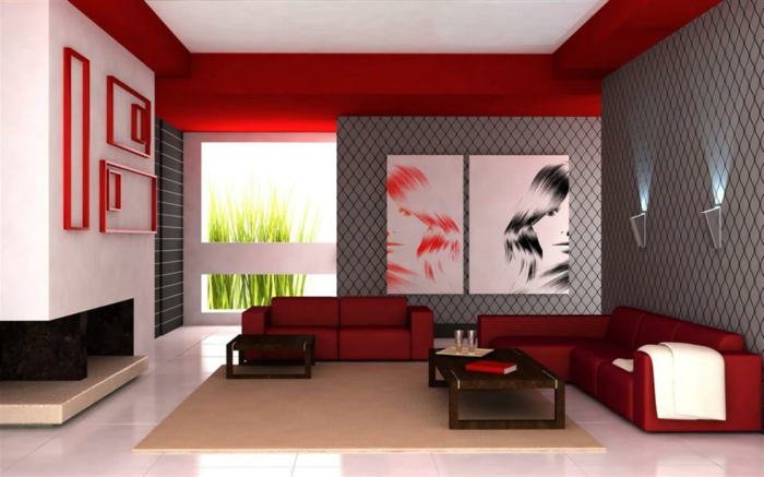 intérieur-moderne-couleur-carmin-couleur-amarante-rouge-mur-rouge-plafond-blanc-peintures-murales