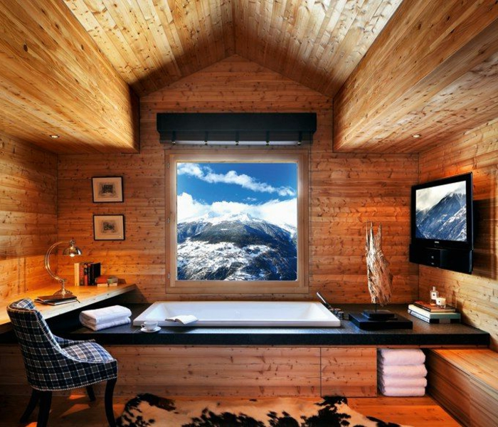 mur interieur en bois chalet. Black Bedroom Furniture Sets. Home Design Ideas