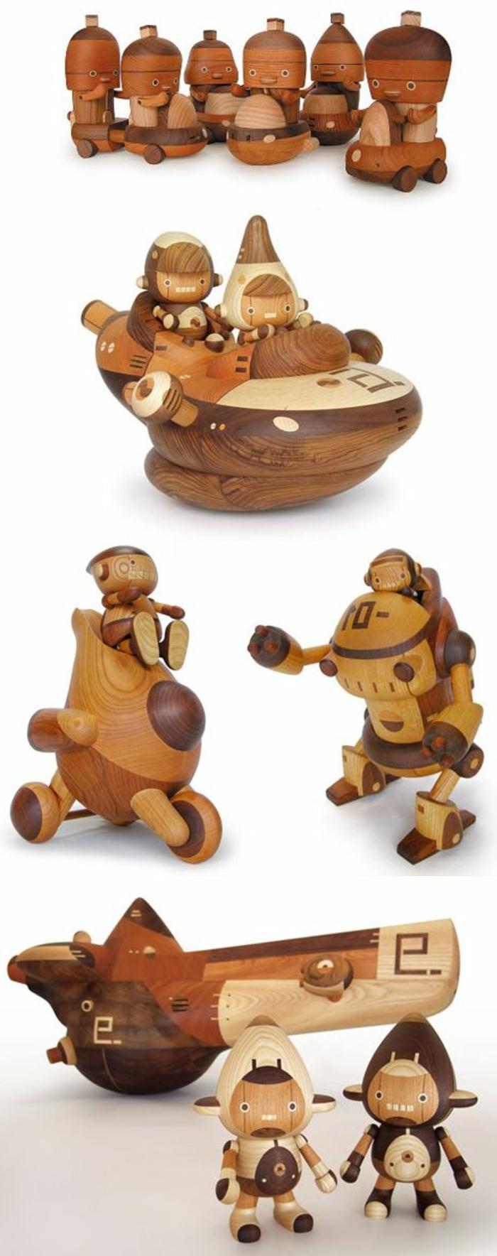 jouets-en-bois-robots-et-pilotes-bizarres