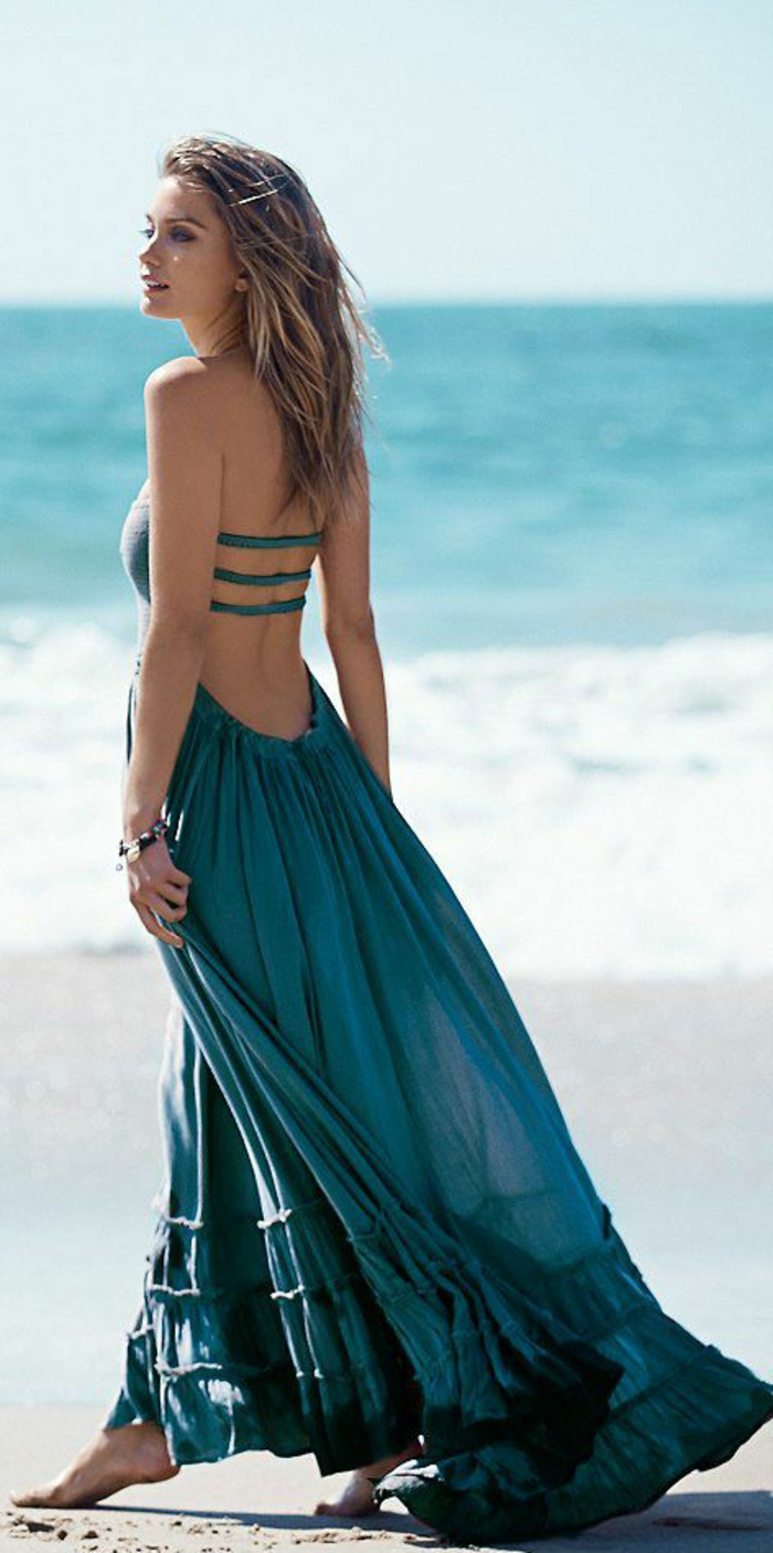 la-robe-longue-été-pas-cher-robe-d'été-longue-au-bord-de-la-mer