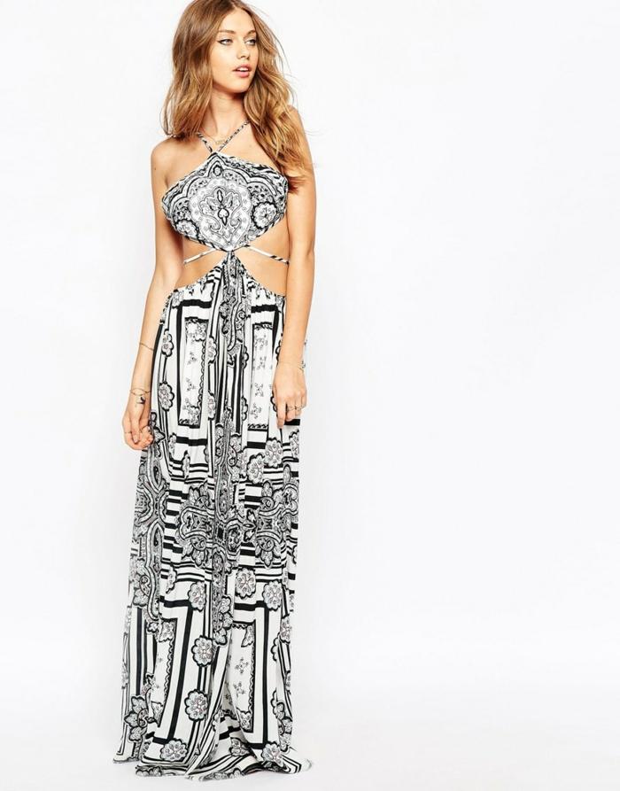 la-robe-longue-été-pas-cher-robe-d-été-longue-jolie-robe-blanc-et-noir
