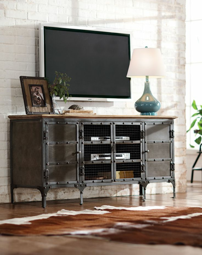 le meuble tv style industriel en 50 images. Black Bedroom Furniture Sets. Home Design Ideas