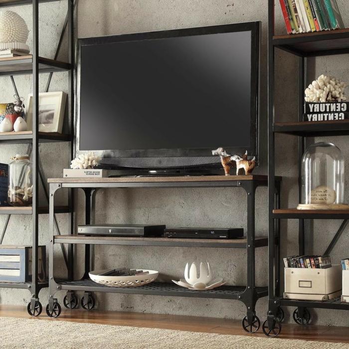 la-salle-de-séjour-style-industriel-meuble-tv-idée-originale