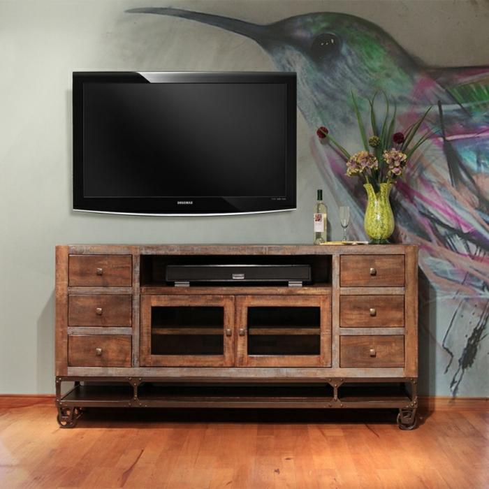 la-salle-de-séjour-style-industriel-meuble-tv-mur-peinture-meuble-en-bois