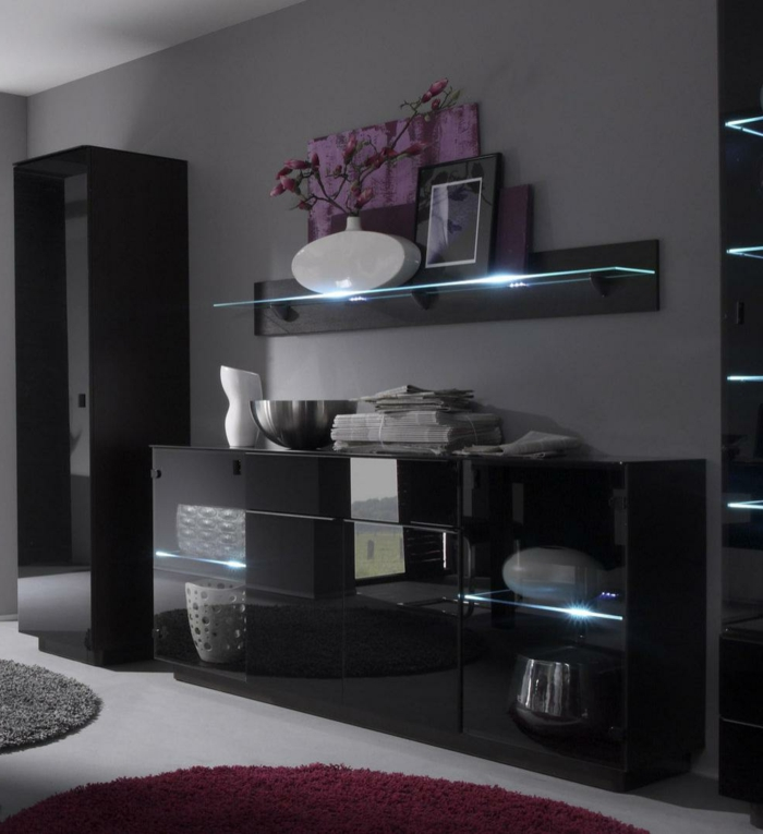 deco salon noir blanc violet. Black Bedroom Furniture Sets. Home Design Ideas