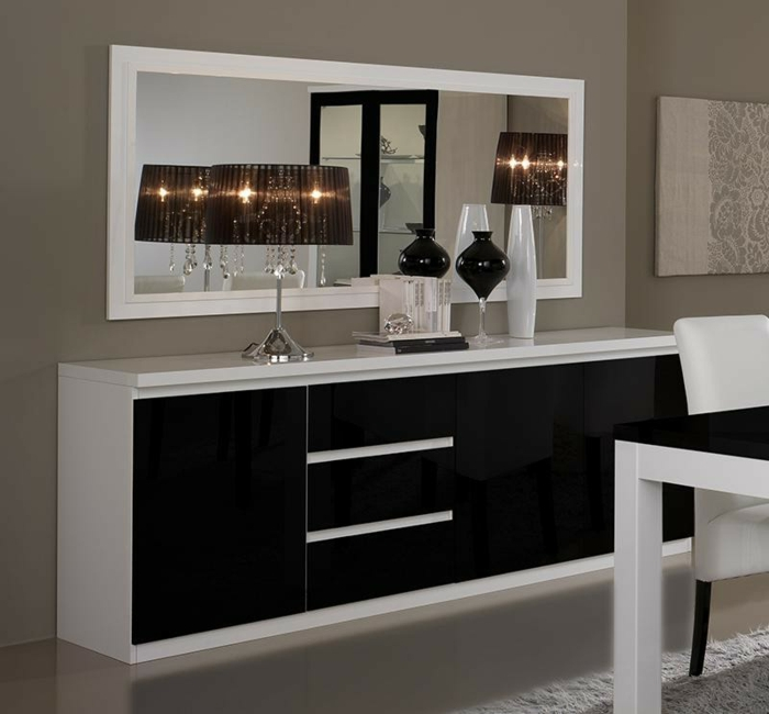 40 id es pour votre int rieur avec le bahut noir laqu. Black Bedroom Furniture Sets. Home Design Ideas