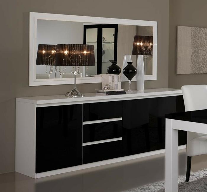 Salon noir blanc et violet - Deco buffet salon ...