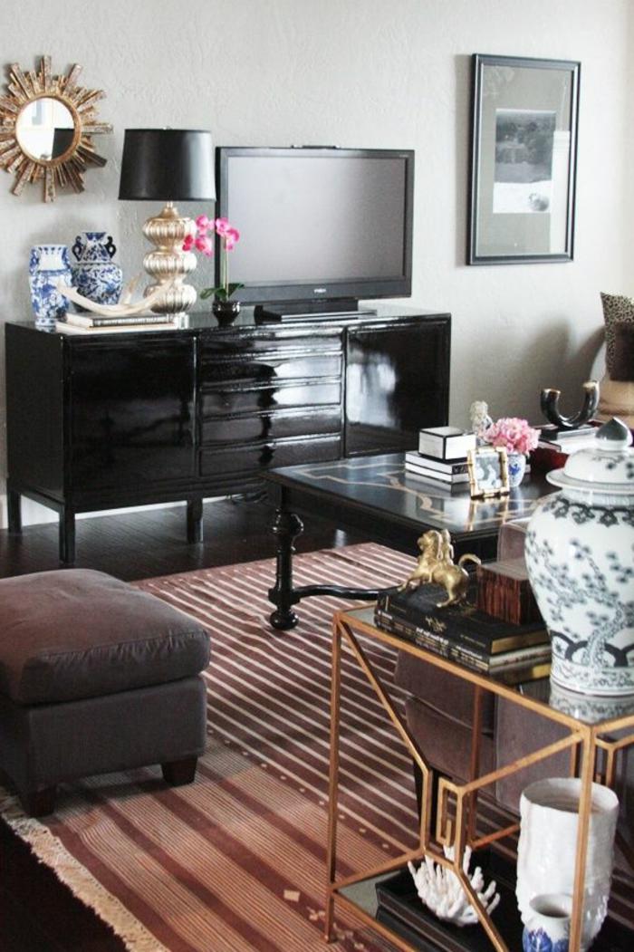 40 id es pour votre int rieur avec le bahut noir laqu. Black Bedroom Furniture Sets. Home Design Ideas