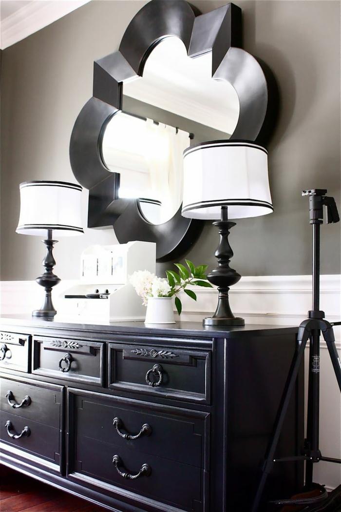 le-bahut-noir-pas-cher-laqué-chic-miroir-forme
