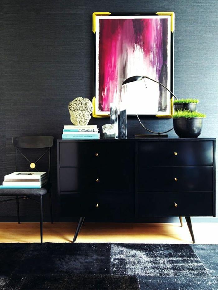 les-meubles-bahut-laqué-noir- chaise-noir