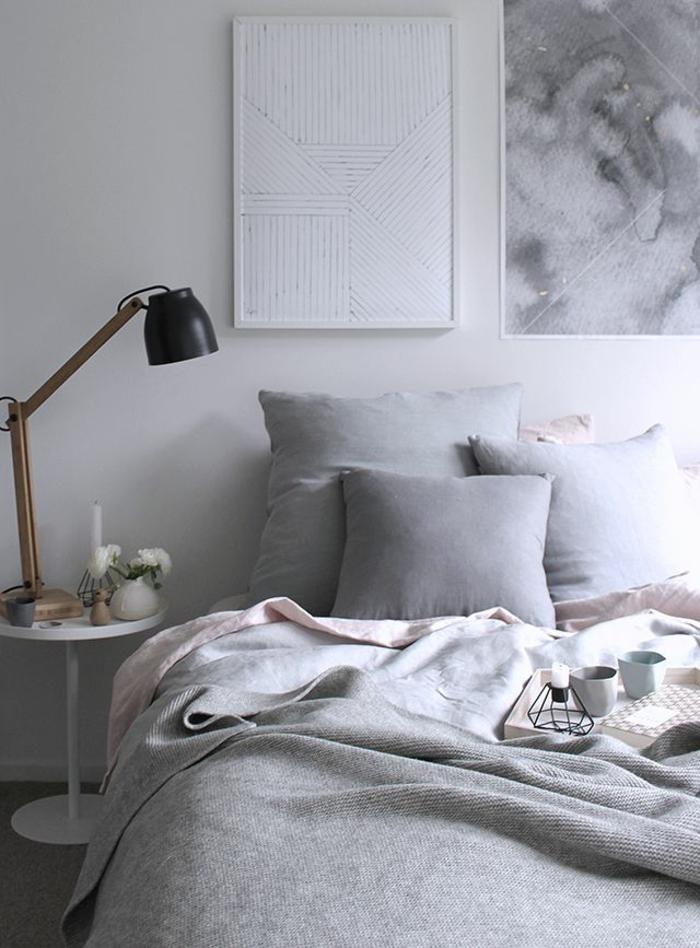 linge-de-lit-en-lin-gris-intérieur-monochrome