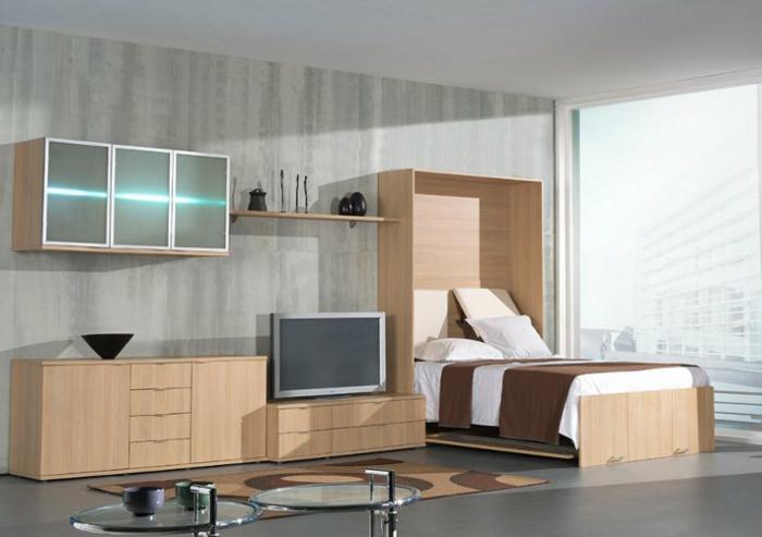 lit-d-appoint-pliant-chambre-d-enfant-murs-gris-meubles-modernes-en-bois-clair