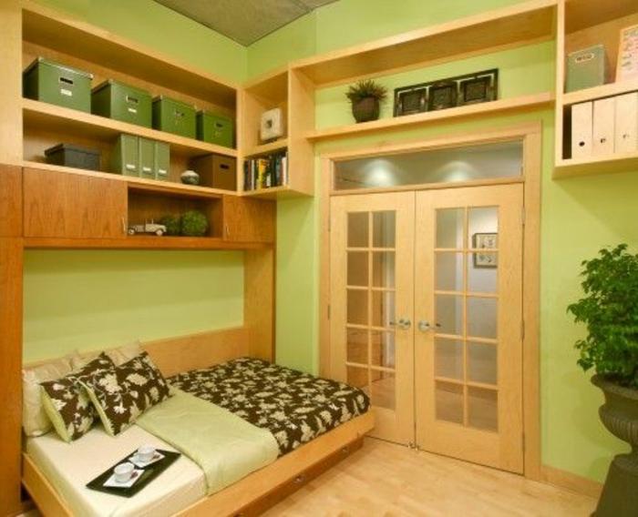 lit-d-appoint-pliant-chambre-d-enfant-murs-vert-lit-en-bois-design-pliant