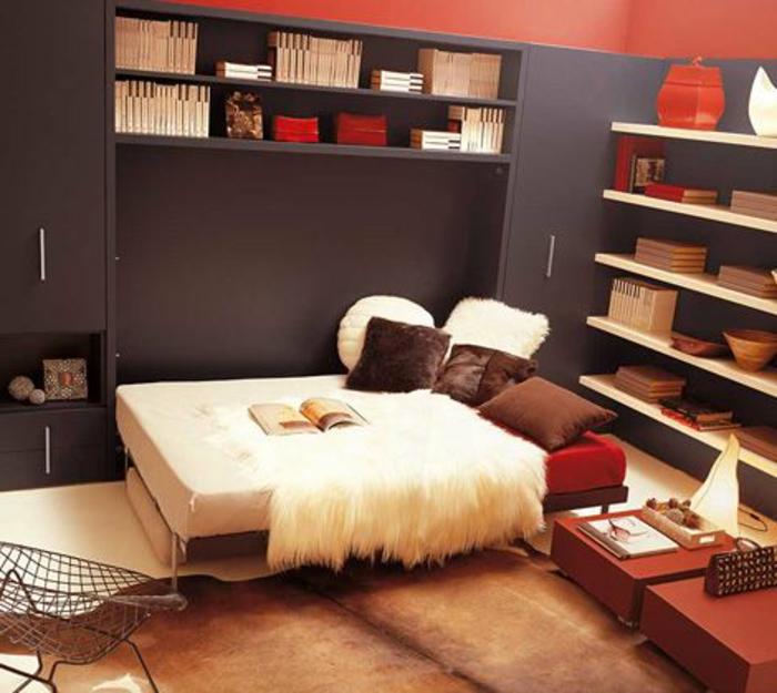 lit-gigogne-ikea-chambre-a-coucher-tapis-peau-de-vache-murs-gris