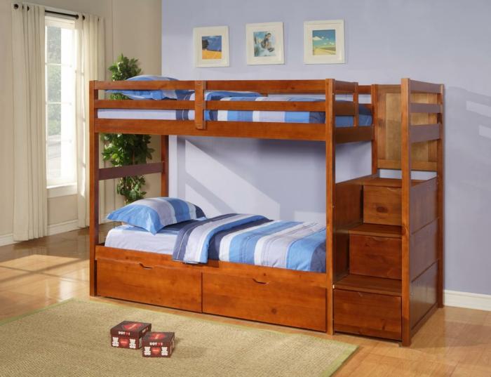 lit-mezzanine-chambre-a-coucher-moderne-tapis-beige-lit-suerpose-ikea-meubles