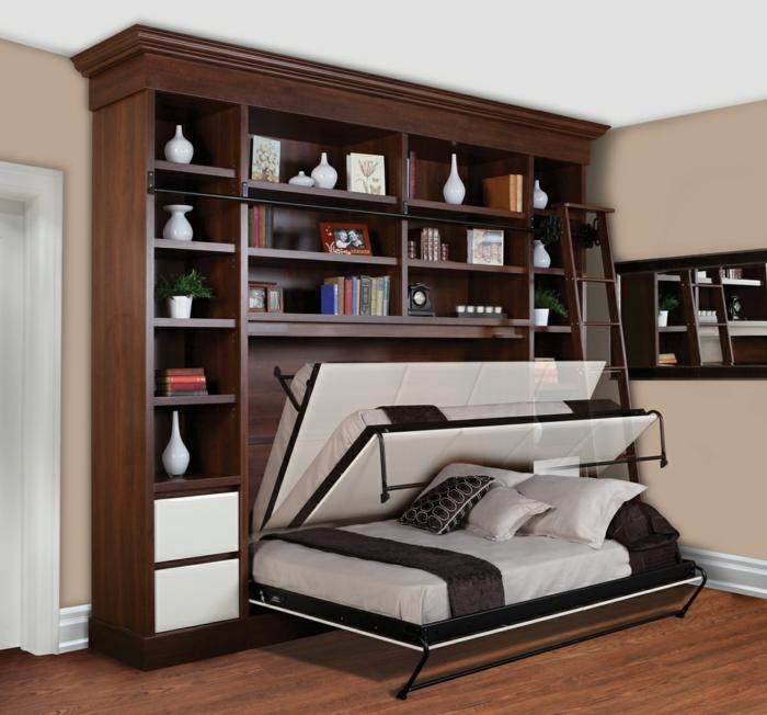 lit-pliant-design-lit-en-fer-sol-en-parquet-meubles-foncés-parquet-bibliothèque-en-bois
