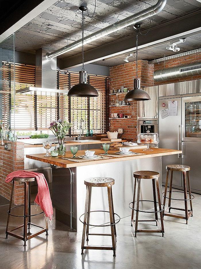 lustre-industriel-cuisine-loft-tabourets-de-bar-métalliques