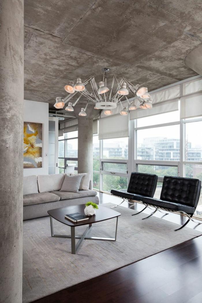 lustre-industriel-plafond-en-béton-tapis-blanc