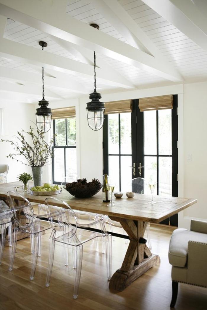 lustre-industriel-salle-de-déjeuner-blanche-table-en-bois-brut