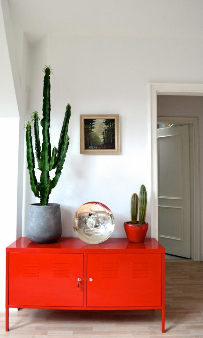 meuble-couleur-carmin-couleur-bordeau-en-fer-mur-blanc-plante-verte