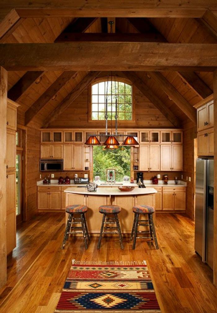 meuble-cuisine-bois-brut-tapis-coloré-dans-la-cuisine-en-bois-massif-meubles-de-cuisine-en-bois