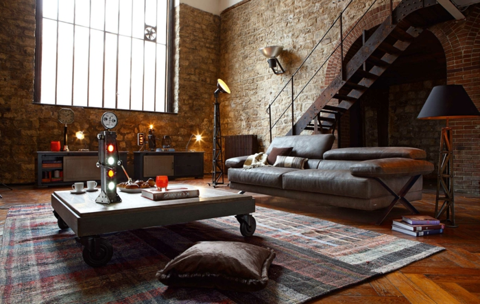 meuble-style-industriel-pas-cher-inspiration-rétro-canapé-en-cuir