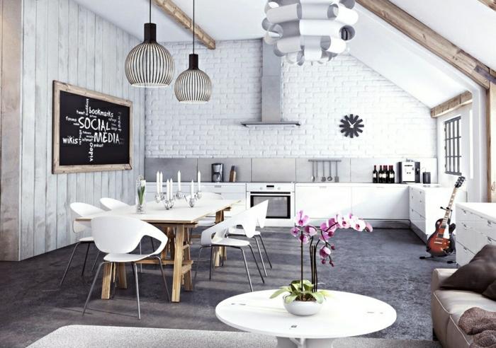 meuble-style-industriel-salon-moderne-blanc-fleurs-vase-table