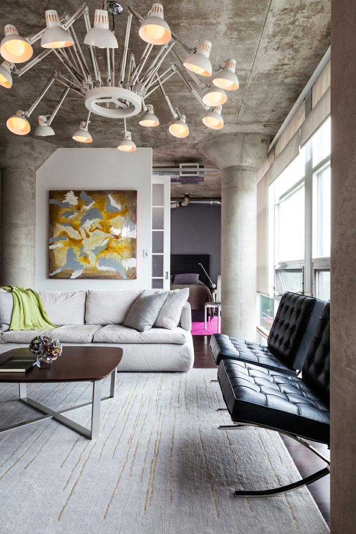 meuble-style-industriel-salon-moderne-lustre-industriel