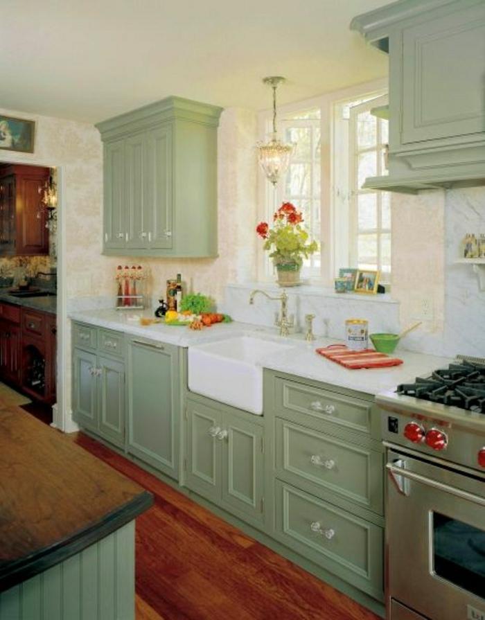 meubles-de-cuisine-idée-couleur-cuisine-verte-meubles-de-cuisine-sol-parquet