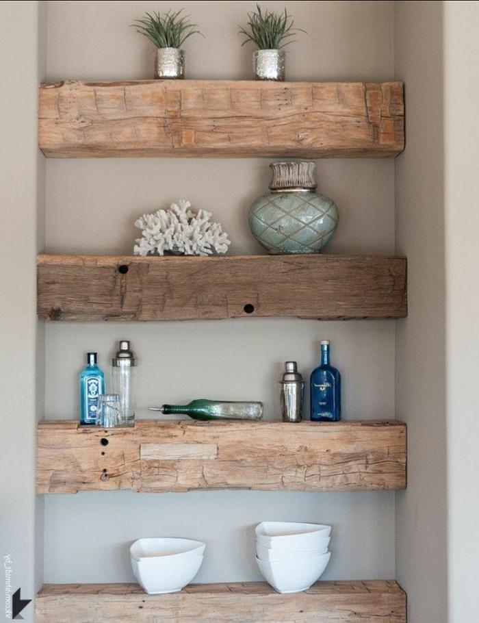 meubles-en-bois-brut-étagère-diy-flottante